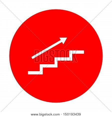 Stair With Arrow. White Icon On Red Circle.