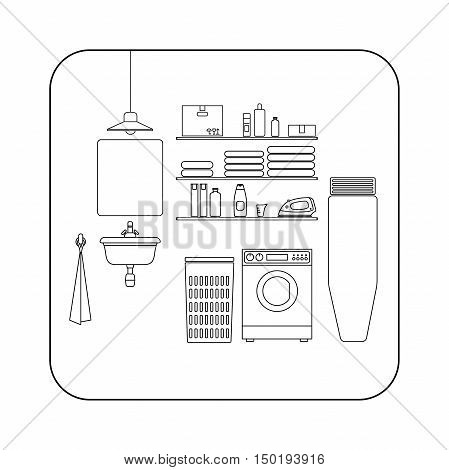 Laundry room line interior with washing machine. Vector thin illustration of utility room.