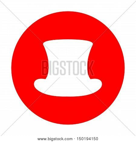 Top Hat Sign. White Icon On Red Circle.