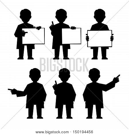 Doctor scientist teacher. Set icons of different poses and gestures paying attention or point to anything. Vector illustration of a man in a white coat.