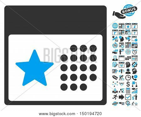 Holiday Calendar pictograph with bonus calendar and time management pictograph collection. Vector illustration style is flat iconic bicolor symbols, blue and gray colors, white background.