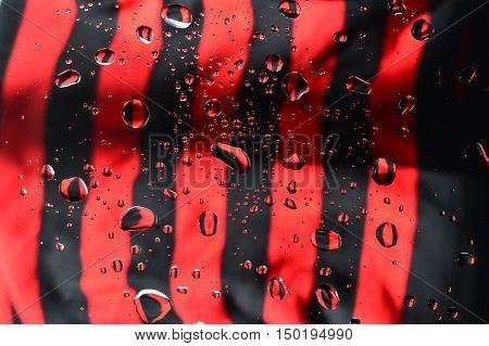 abstract picture with water drops and their colorful reflections