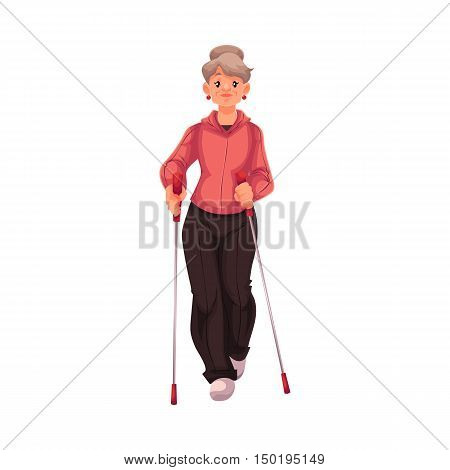 Mature female nordic walker, cartoon style vector illustration isolated on white background. Elder woman doing nordic walking, full height portrait, side view. Female Nordic walker in sports suit