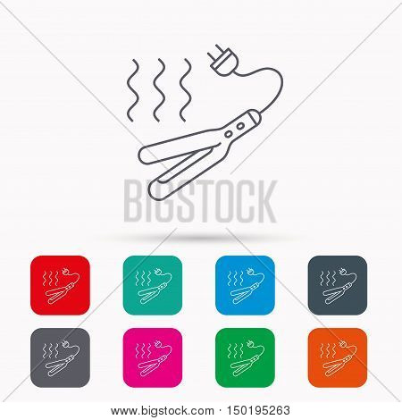 Curling iron icon. Hairstyle electric tool sign. Linear icons in squares on white background. Flat web symbols. Vector