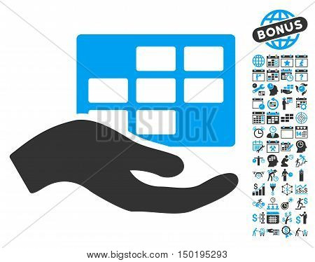 Service Schedule icon with bonus calendar and time management pictograph collection. Vector illustration style is flat iconic bicolor symbols, blue and gray colors, white background.