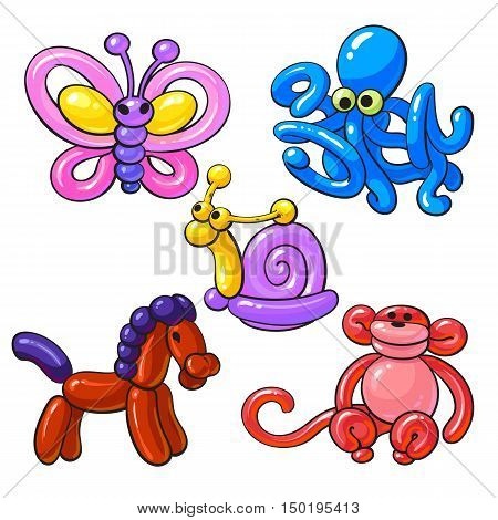 Set of balloon animals - horse, octopus, monkey, butterfly, snail, cartoon vector illustrations isolated on white background. Colorful drawing of inflatable toys made of twisted balloons