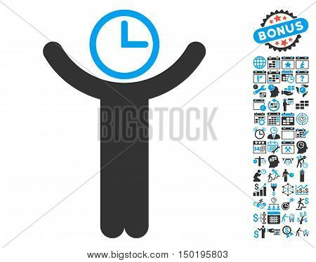 Time Manager icon with bonus calendar and time management graphic icons. Vector illustration style is flat iconic bicolor symbols, blue and gray colors, white background.