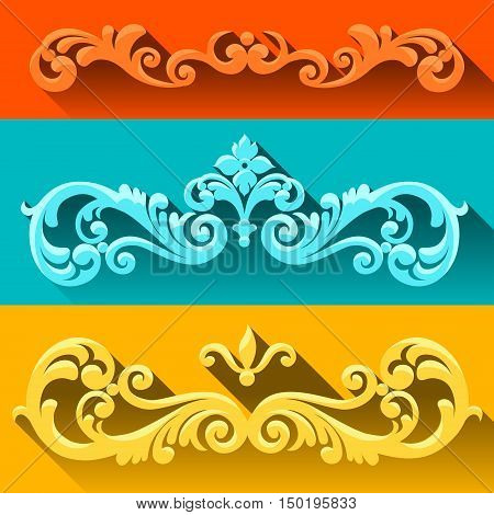 Vector set of scrolls and vignettes in Victorian style. Element in flat design style. It can be used for decorating of invitations greeting cards decoration for bags and at tattoo creation.