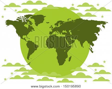 The Continents Of The Planet, Environmental Protection, Green Planet On A White Background. Clouds.