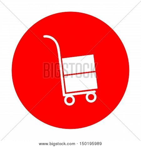 Hand Truck Sign. White Icon On Red Circle.