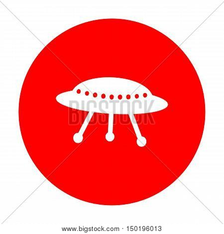 Ufo Simple Sign. White Icon On Red Circle.