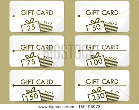 Gift card with a gift box. Set of vector illustrations.