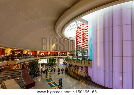 Shanghai China - October 26 2013: Interior of the Oriental Pearl Radio and TV tower in Shanghai China.