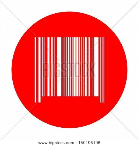 Bar Code Sign. White Icon On Red Circle.