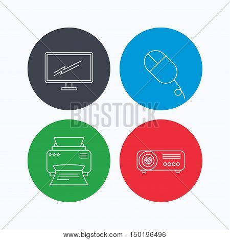 Monitor, printer and projector icons. PC mouse linear sign. Linear icons on colored buttons. Flat web symbols. Vector