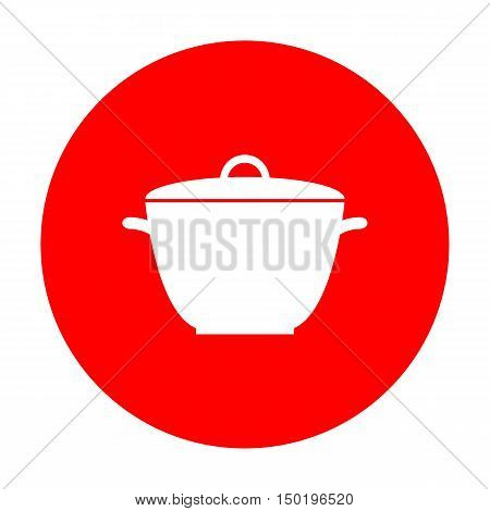 Saucepan Simple Sign. White Icon On Red Circle.