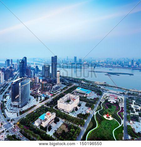 Aerial view of the big city China Nanchang