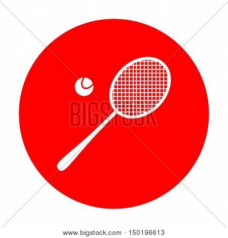 Tennis Racquet Sign. White Icon On Red Circle.