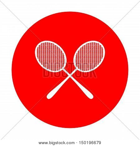Tennis Racquets Sign. White Icon On Red Circle.