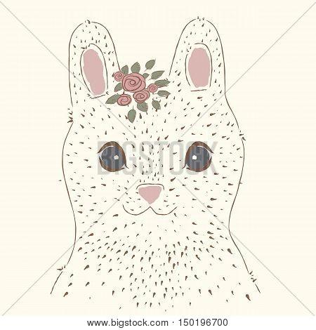 Cute rabbit. Vintage portrait.  suitable for printing on a t-shirt or sweatshirt, shirt design, print rabbit, sketch rabbit, Children's fashion shirt. Cute rabbit vintage