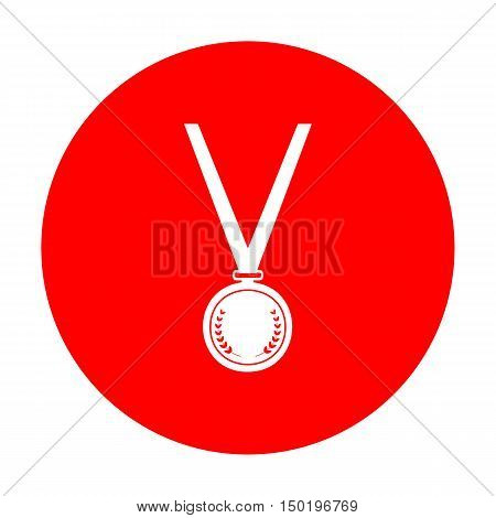 Medal Simple Sign. White Icon On Red Circle.