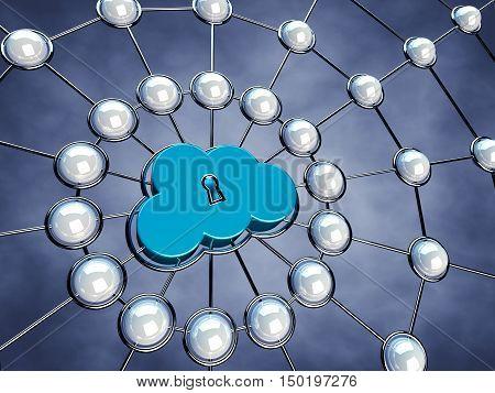 Secure cloud network , Server nodes , 3d illustration