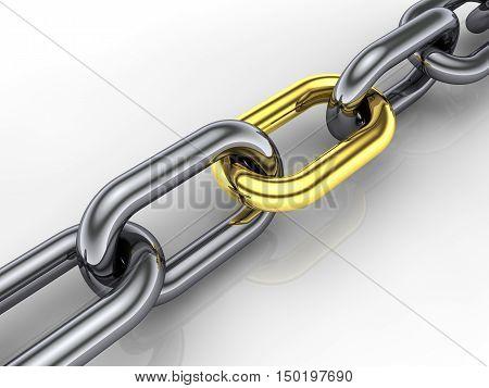 3d chain golden link group cohesiveness concept , Teamwork , 3d illustration