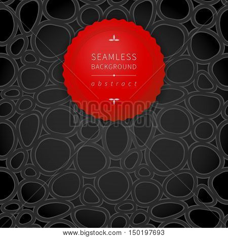 Bright contrast spotted seamless pattern. Drops background. Bright red label on dark abstract backdrop. It can be used for wallpaper pattern fills web page background surface textures.