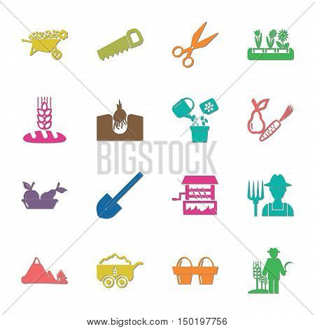farm, gardening 16 icons universal set for web and mobile flat