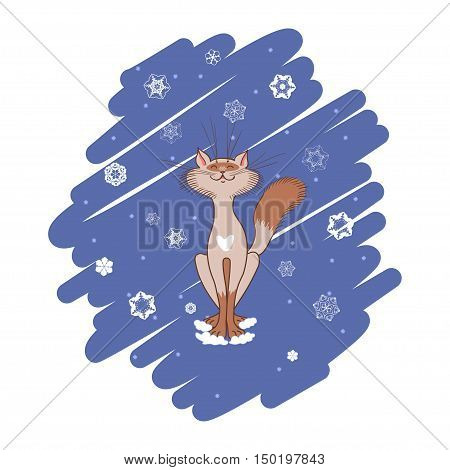 Illustration on the theme of winter. Siamese cat sitting under falling snow. Background of doodles.