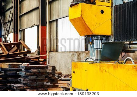 CNC drilling machine on the assembly line