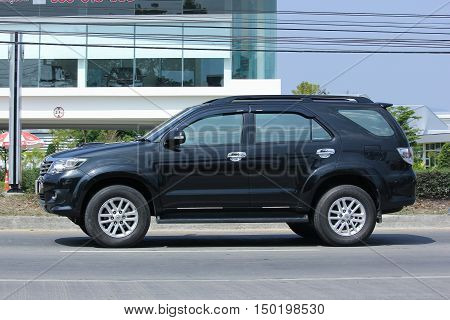 CHIANGMAI, THAILAND -FEBRUARY 29 2016:  Private suv car, Toyota Fortuner. Photo at road no 121 about 8 km from downtown Chiangmai, thailand.