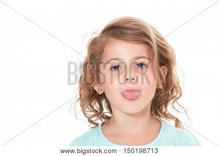 Frisky young girl on white background