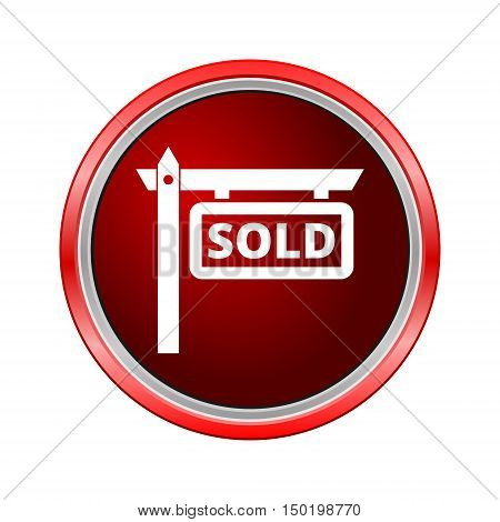 Sold Icon, Internet button on white background