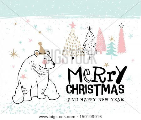 Hand drawn Christmas card with cute little bear