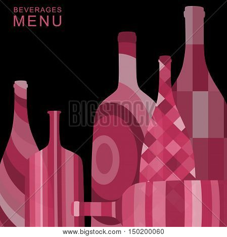 Alcoholic beverages menu. Background with abstract bottles of alcoholic beverages.