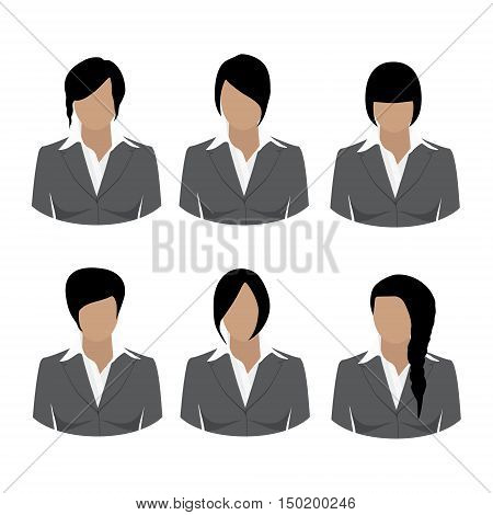 Avatar icon set. Vector illustrations of beautiful young girls business woman with various hair style. Collection of female hair style. Woman in grey suit