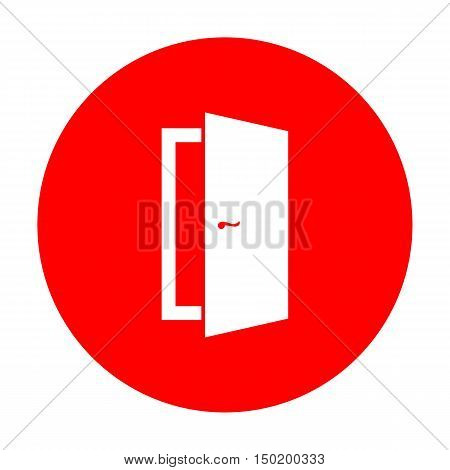Door Sign Illustration. White Icon On Red Circle.
