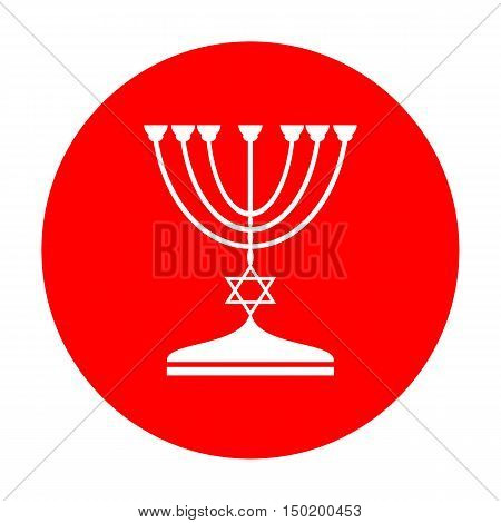 Jewish Menorah Candlestick In Black Silhouette. White Icon On Red Circle.