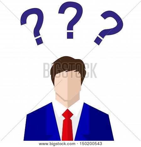 uncertain businessman in suit. sign. Question mark Question words vector concept