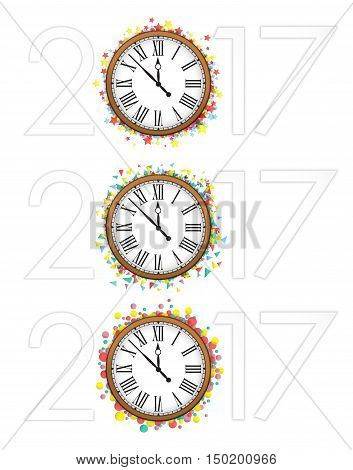 Confetti with text 2017 and vintage clock NewYear greeting design