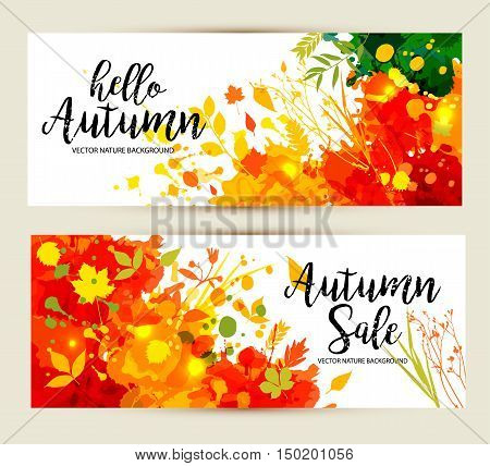 Calligraphic Text Sale On Multicolor Blots Background. Hand Drawn Grunge Blots Elements.