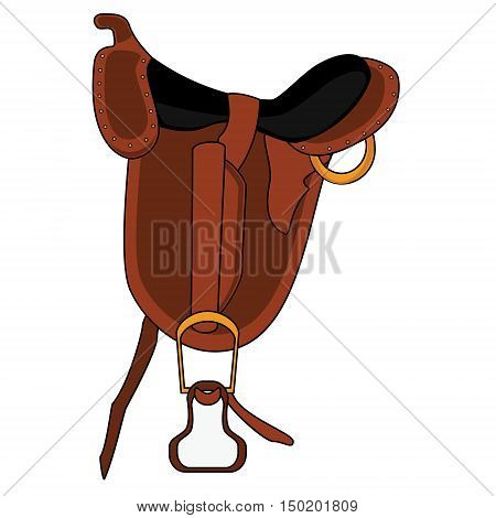 Vector illustration brown leather saddle. Embroidery for equestrian sport. Horse saddle flat icon