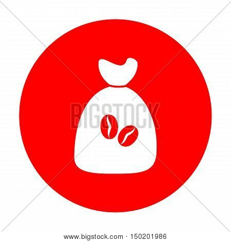 Coffee Bag Icon. Coffee Bag Vector. Coffee Bag Icon Button. White Icon On Red Circle.