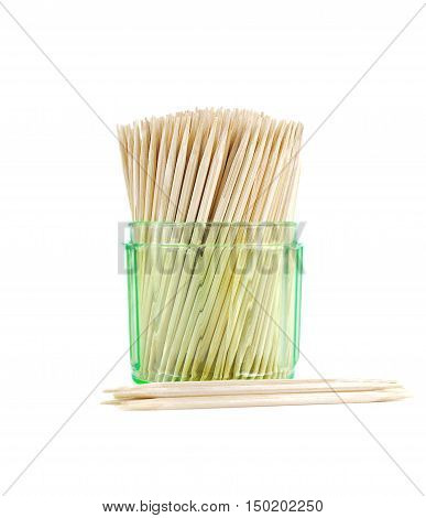 toothpicks clean teeth isolated close up texture.