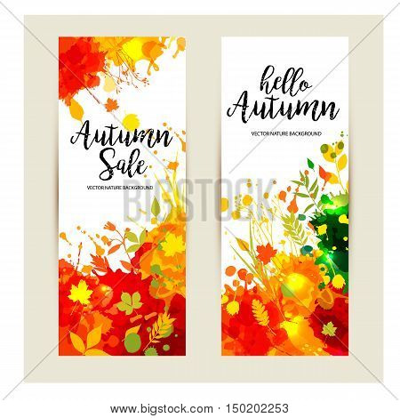 Calligraphic Text Sale On Multicolor Blots Background. Hand Drawn Grunge Blots Elements. Autumns Ban