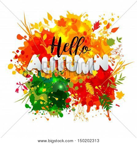 Text Autumn In Paper Style On Multicolor Blots Background With Black Calligraphic Autumn Text. Hand