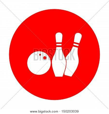 Bowling Sign Illustration. White Icon On Red Circle.