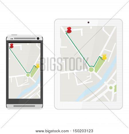 White realistic tablet and mobile smartphone with gps navigaton. Gps device. Navigation map. Gps navigator
