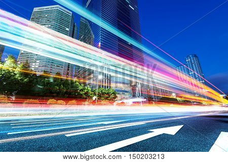 light trails on the street at dusk in guangdongChina